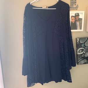 Navy Entro Tunic Dress Tassels Lace Bell Sleeves